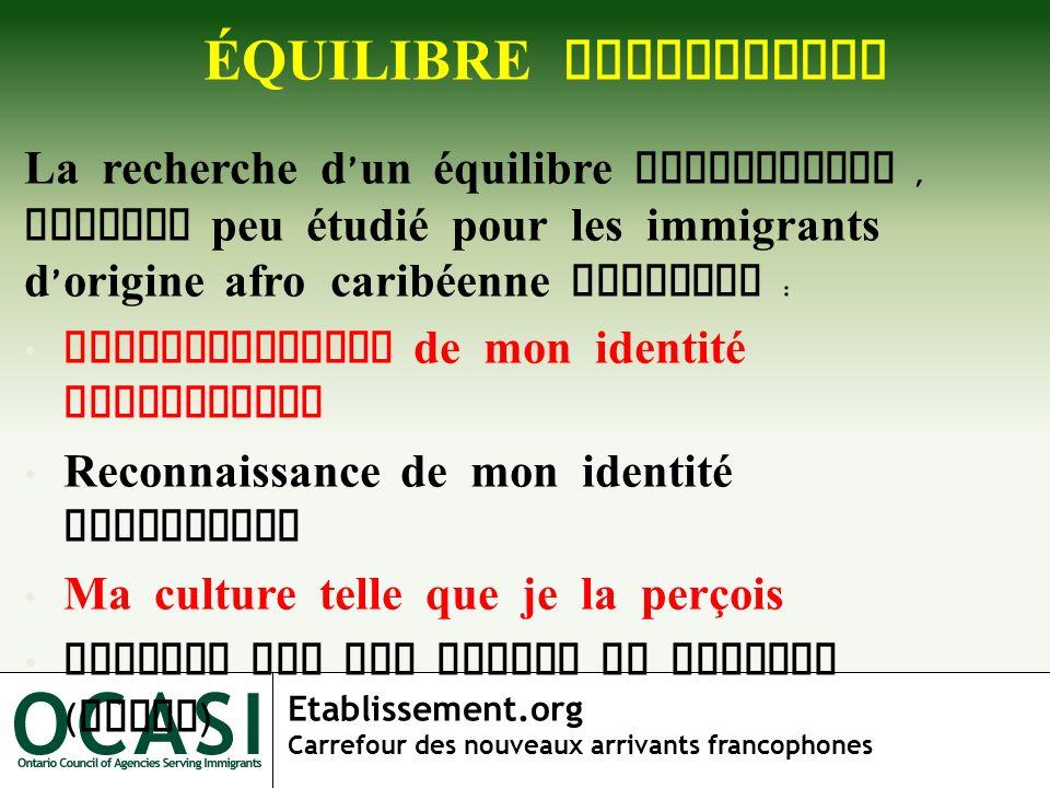 Etablissement.org Carrefour des nouveaux arrivants francophones NIVEAU DE RECHERCHE La recherche d un équilibre identitaire se situe à trois niveaux : Individu Communauté Institution