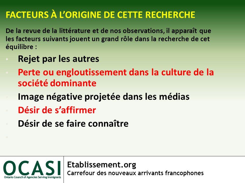 Etablissement.org Carrefour des nouveaux arrivants francophones FACTEURS À LORIGINE DE CETTE RECHERCHE De la revue de la littérature et de nos observa