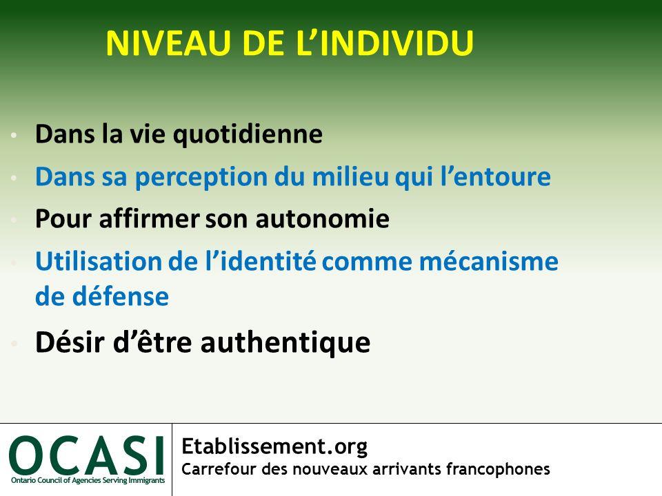 Etablissement.org Carrefour des nouveaux arrivants francophones NIVEAU DE LINDIVIDU Dans la vie quotidienne Dans sa perception du milieu qui lentoure