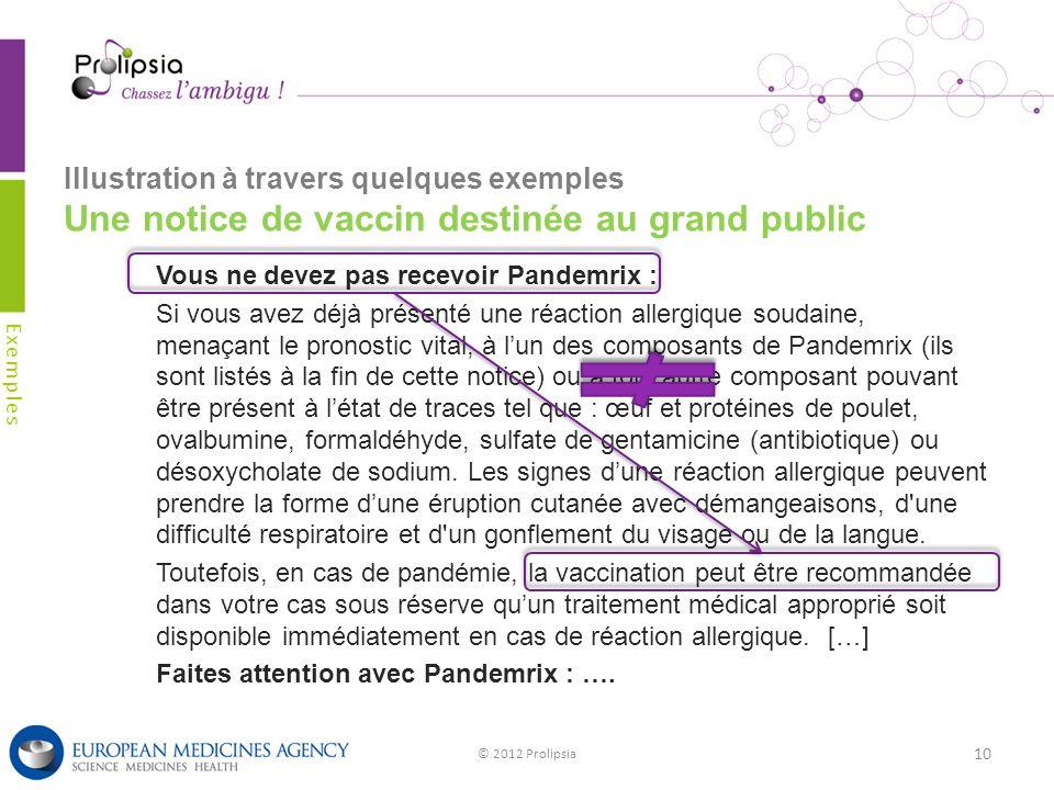 Illustration à travers quelques exemples Une notice de vaccin destinée au grand public Exemples © 2012 Prolipsia 10 Vous ne devez pas recevoir Pandemr