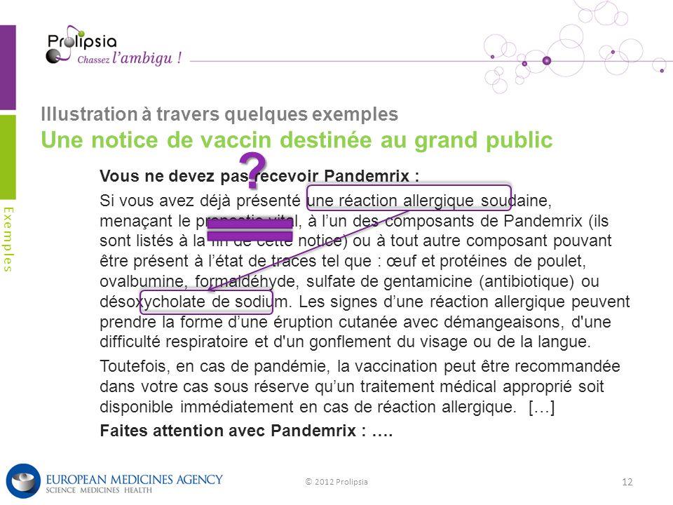 Illustration à travers quelques exemples Une notice de vaccin destinée au grand public Exemples © 2012 Prolipsia 12 Vous ne devez pas recevoir Pandemr