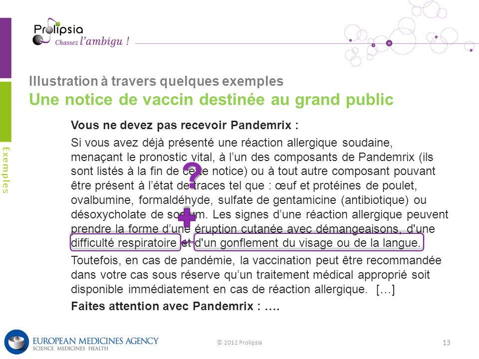 Illustration à travers quelques exemples Une notice de vaccin destinée au grand public Exemples © 2012 Prolipsia 13 Vous ne devez pas recevoir Pandemr