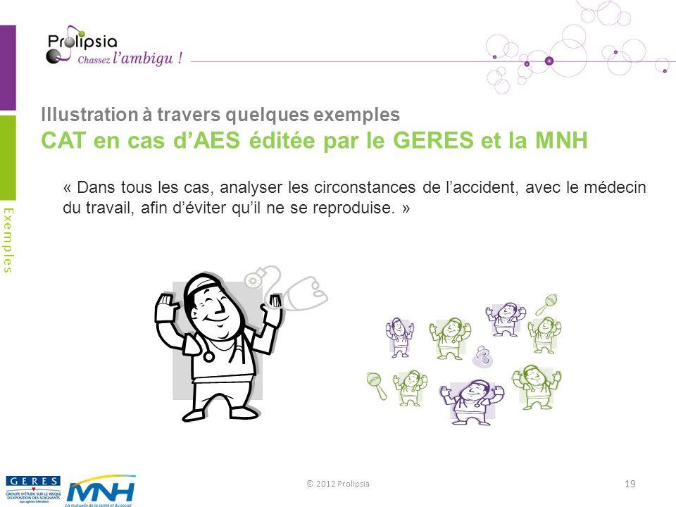 Illustration à travers quelques exemples CAT en cas dAES éditée par le GERES et la MNH © 2012 Prolipsia 19 Exemples « Dans tous les cas, analyser les