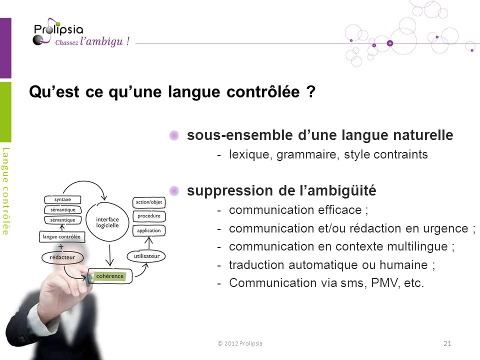 Quest ce quune langue contrôlée ? sous-ensemble dune langue naturelle lexique, grammaire, style contraints suppression de lambigüité communication e
