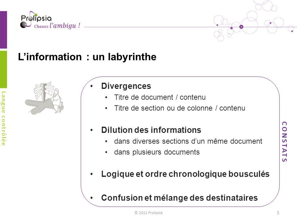 Linformation : un labyrinthe Divergences Titre de document / contenu Titre de section ou de colonne / contenu Dilution des informations dans diverses