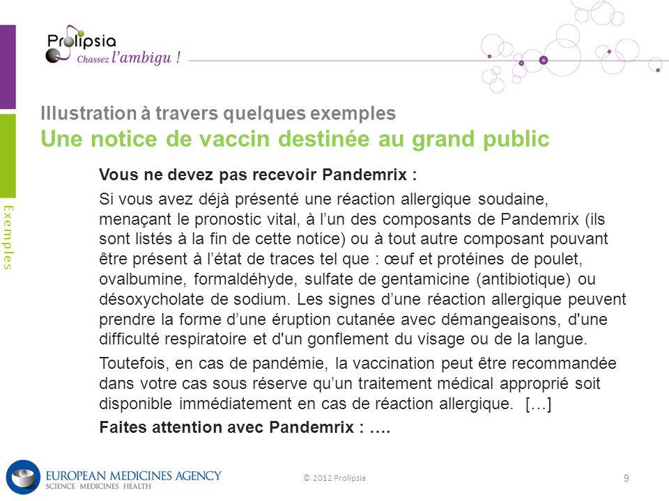Illustration à travers quelques exemples Une notice de vaccin destinée au grand public Exemples © 2012 Prolipsia 9 Vous ne devez pas recevoir Pandemri