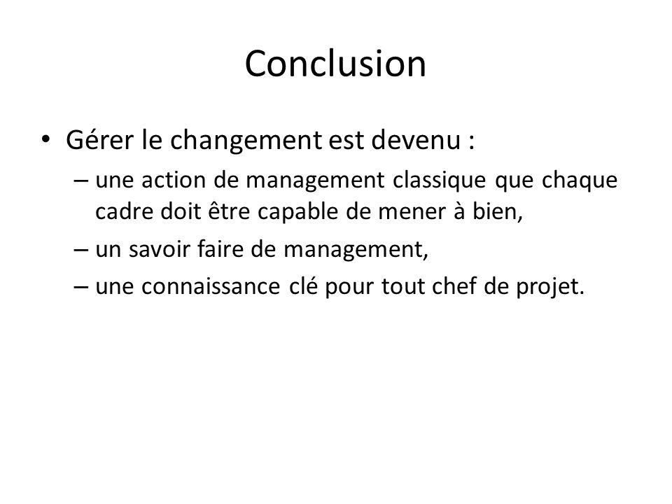 Conclusion Gérer le changement est devenu : – une action de management classique que chaque cadre doit être capable de mener à bien, – un savoir faire de management, – une connaissance clé pour tout chef de projet.