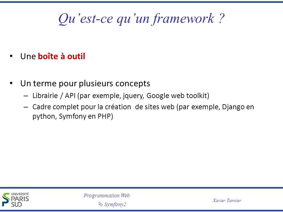 Programmation Web Symfony2 Xavier Tannier Quest-ce quun framework ? Une boîte à outil Un terme pour plusieurs concepts – Librairie / API (par exemple,