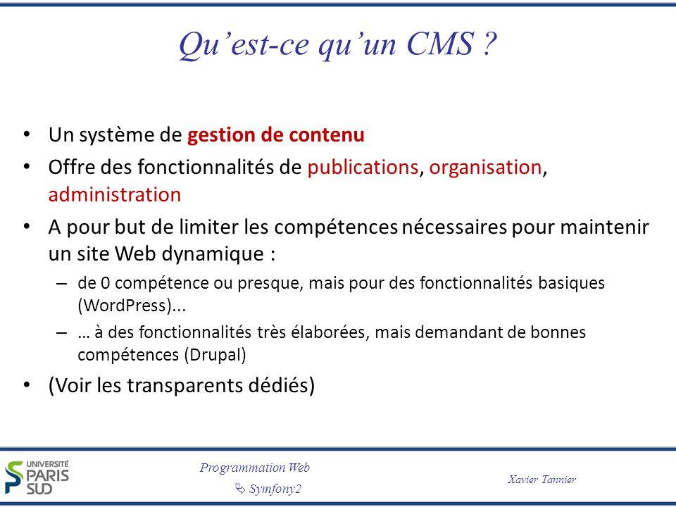 Programmation Web Symfony2 Xavier Tannier Quest-ce quun CMS ? Un système de gestion de contenu Offre des fonctionnalités de publications, organisation