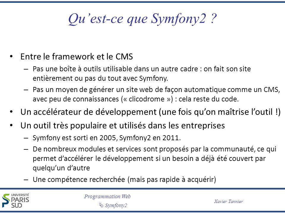 Programmation Web Symfony2 Xavier Tannier Quest-ce que Symfony2 ? Entre le framework et le CMS – Pas une boîte à outils utilisable dans un autre cadre