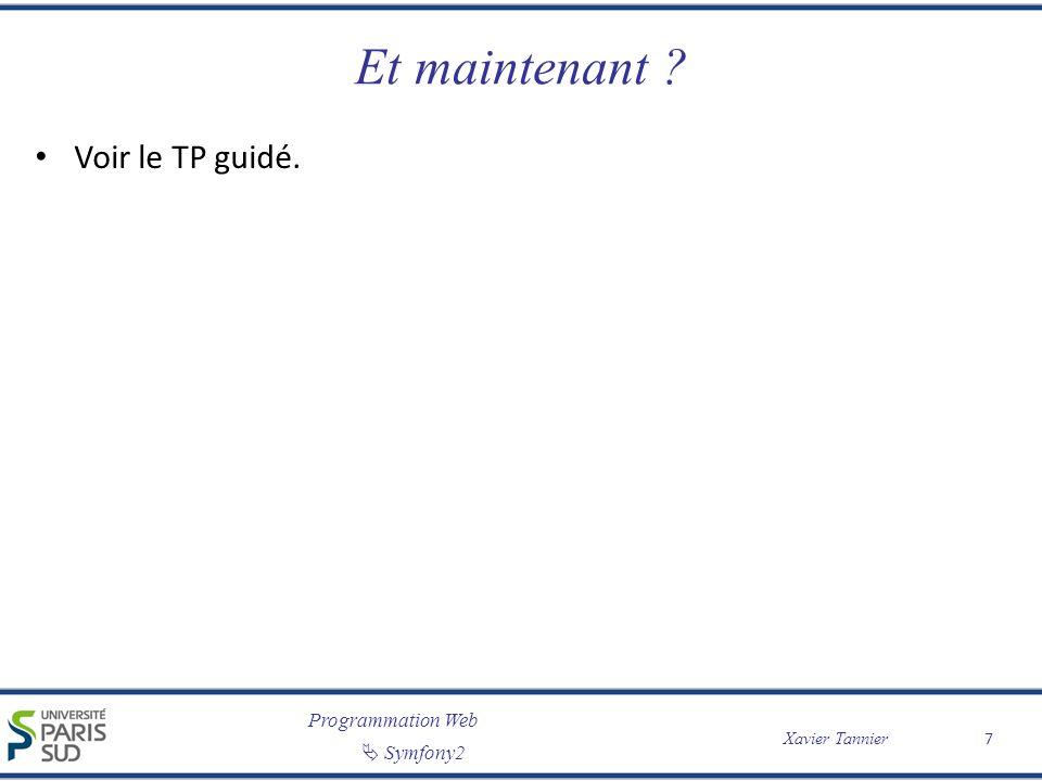 Programmation Web Symfony2 Xavier Tannier Et maintenant ? Voir le TP guidé. 7