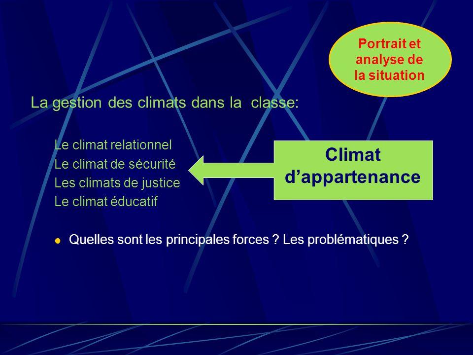 La gestion des climats dans la classe: Le climat relationnel Le climat de sécurité Les climats de justice Le climat éducatif Quelles sont les principales forces .