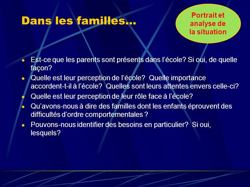 Dans les familles… Est-ce que les parents sont présents dans lécole.