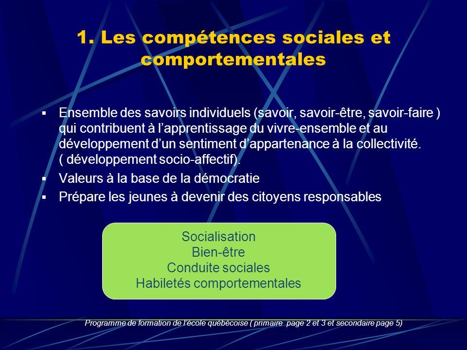 1. Les compétences sociales et comportementales Ensemble des savoirs individuels (savoir, savoir-être, savoir-faire ) qui contribuent à lapprentissage