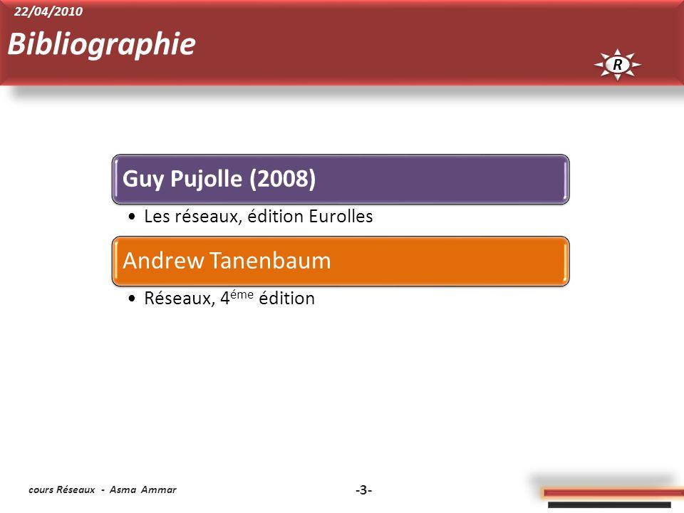 cours Réseaux - Asma Ammar -3- Guy Pujolle (2008) Les réseaux, édition Eurolles Andrew Tanenbaum Réseaux, 4 éme édition Bibliographie R R 22/04/2010