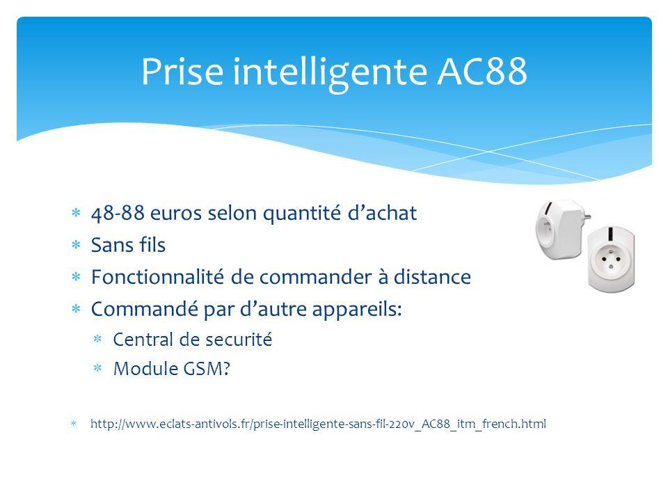 Contrôler par SMS Techniquement faisable Composants sont précisés http://www.elektor.fr/magazines/2003/janvier/rampe-multi-prise-intelligente.66530.lynkx Prise intelligente Amateur