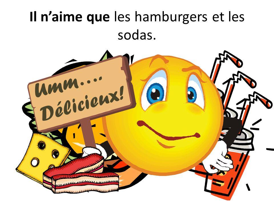 Un jour, il a faim.Il a besoin dacheter des hamburgers, mais le supermarché ne les vend pas.
