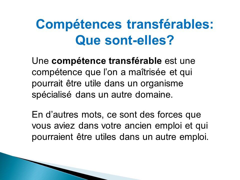 Compétences transférables: Que sont-elles? Une compétence transférable est une compétence que lon a maîtrisée et qui pourrait être utile dans un organ