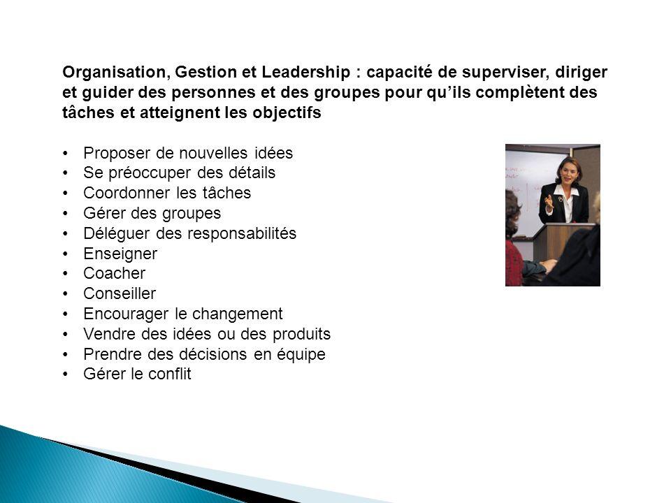 Organisation, Gestion et Leadership : capacité de superviser, diriger et guider des personnes et des groupes pour quils complètent des tâches et attei