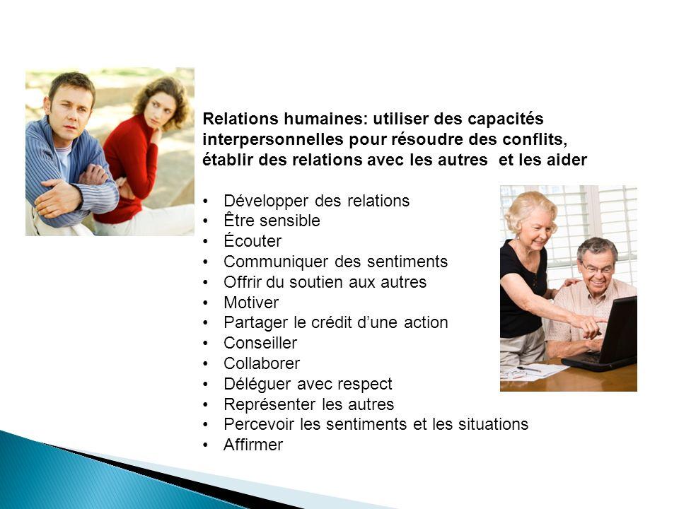 Relations humaines: utiliser des capacités interpersonnelles pour résoudre des conflits, établir des relations avec les autres et les aider Développer