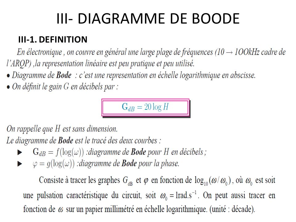 III- DIAGRAMME DE BOODE III-1. DEFINITION