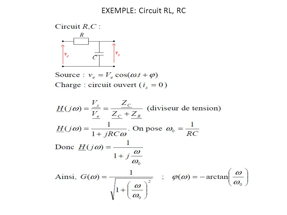 EXEMPLE: Circuit RL, RC