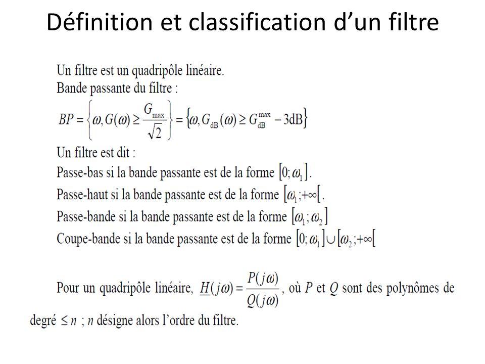 Définition et classification dun filtre