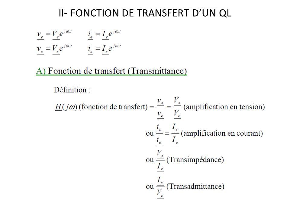 II- FONCTION DE TRANSFERT DUN QL