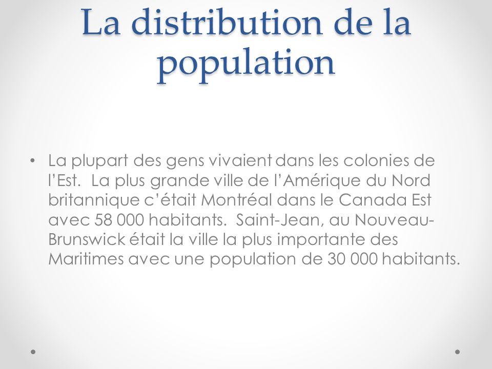 La distribution de la population La plupart des gens vivaient dans les colonies de lEst. La plus grande ville de lAmérique du Nord britannique cétait