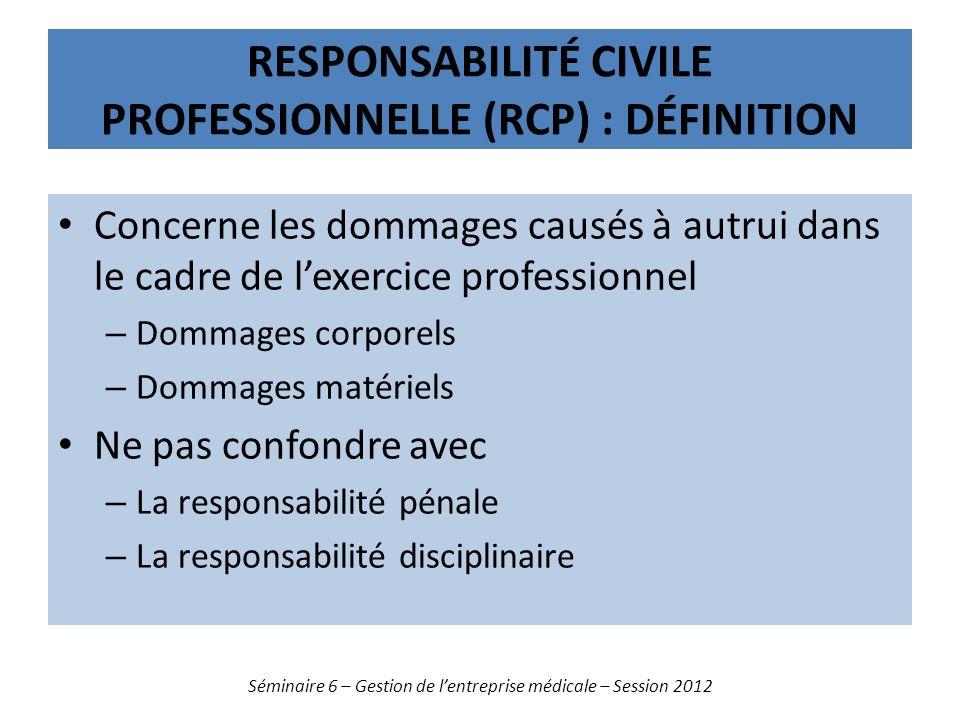 RESPONSABILITÉ CIVILE PROFESSIONNELLE (RCP) : DÉFINITION Concerne les dommages causés à autrui dans le cadre de lexercice professionnel – Dommages cor