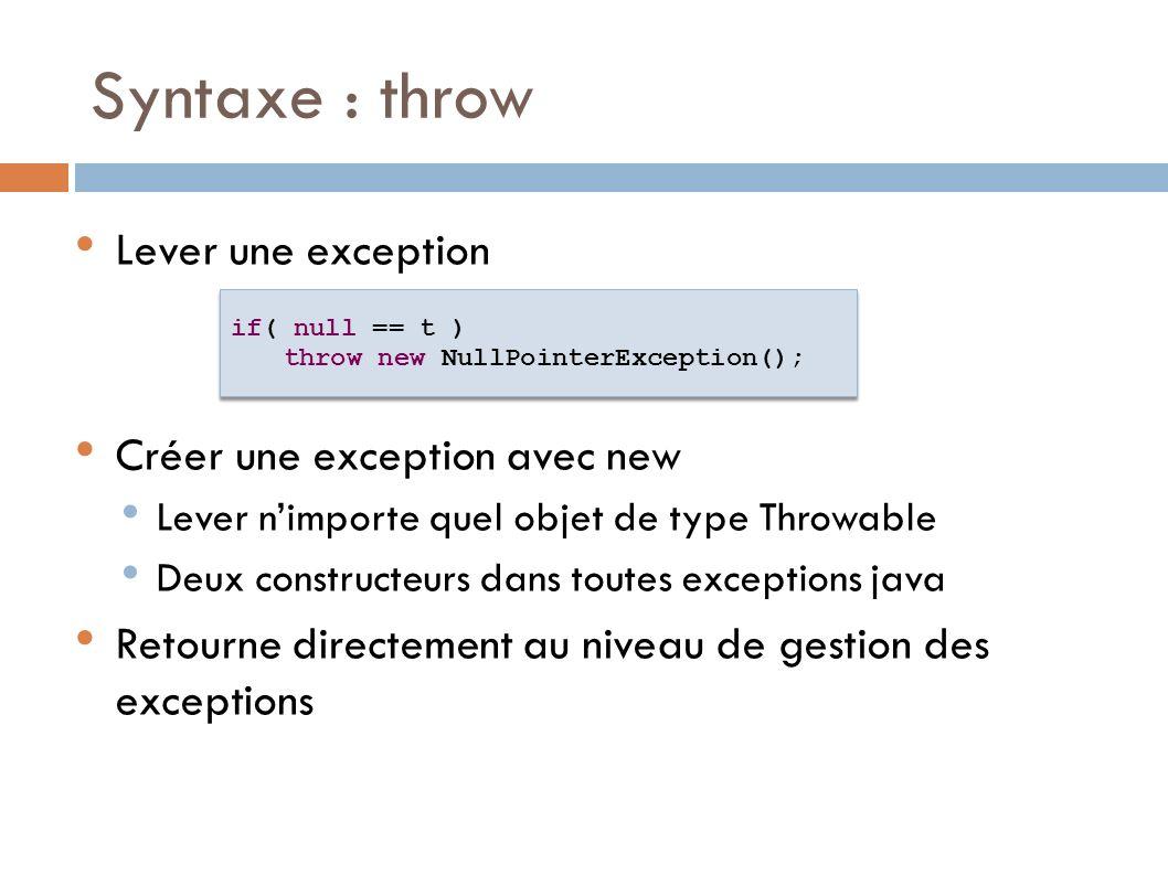 Syntaxe : throw Lever une exception Créer une exception avec new Lever nimporte quel objet de type Throwable Deux constructeurs dans toutes exceptions java Retourne directement au niveau de gestion des exceptions if( null == t ) throw new NullPointerException(); if( null == t ) throw new NullPointerException();