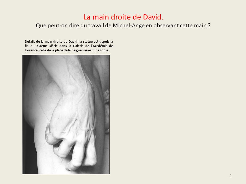 La main droite de David. Que peut-on dire du travail de Michel-Ange en observant cette main ? Détails de la main droite du David, la statue est depuis