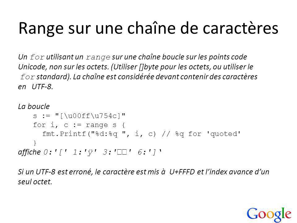 Range sur une chaîne de caractères Un for utilisant un range sur une chaîne boucle sur les points code Unicode, non sur les octets.
