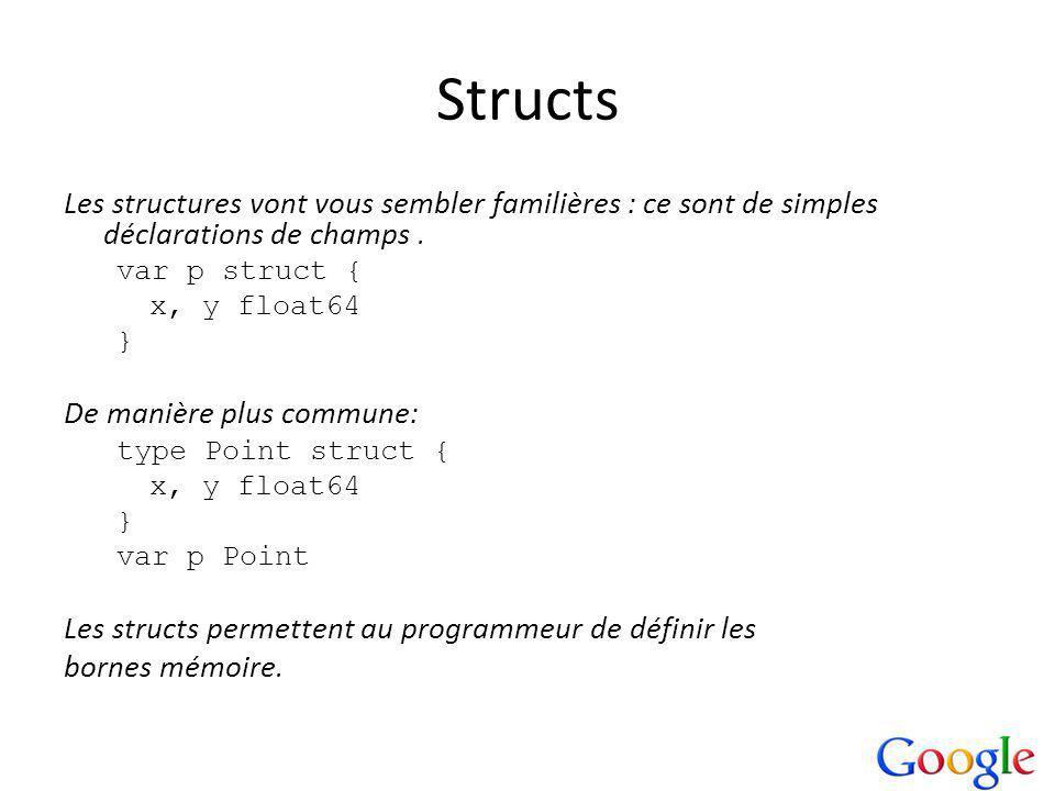 Les structures vont vous sembler familières : ce sont de simples déclarations de champs.