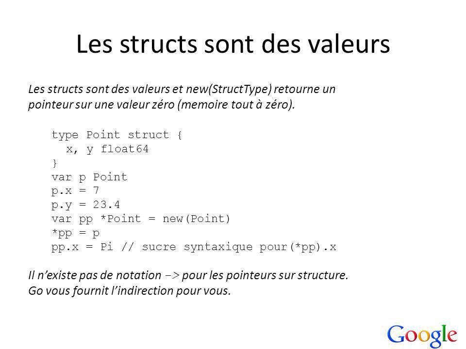 Les structs sont des valeurs Les structs sont des valeurs et new(StructType) retourne un pointeur sur une valeur zéro (memoire tout à zéro).