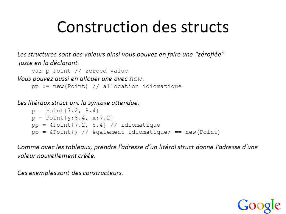 Construction des structs Les structures sont des valeurs ainsi vous pouvez en faire une zérofiée juste en la déclarant.