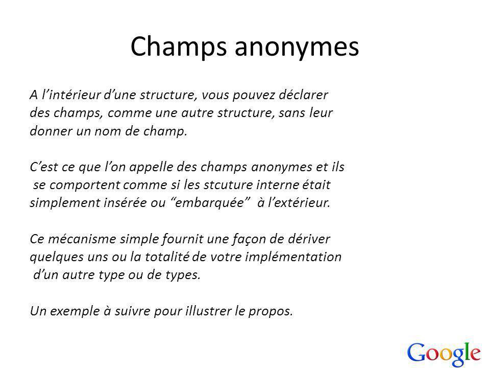 Champs anonymes A lintérieur dune structure, vous pouvez déclarer des champs, comme une autre structure, sans leur donner un nom de champ.