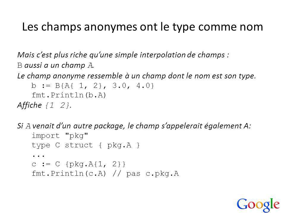 Les champs anonymes ont le type comme nom Mais cest plus riche quune simple interpolation de champs : B aussi a un champ A.
