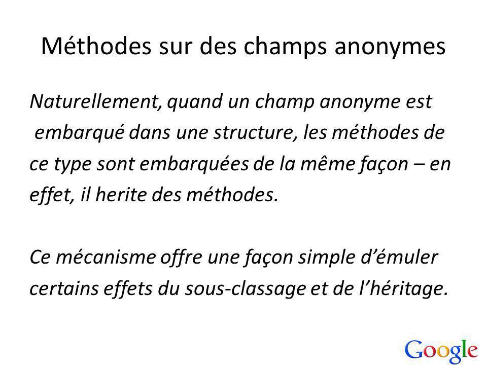 Méthodes sur des champs anonymes Naturellement, quand un champ anonyme est embarqué dans une structure, les méthodes de ce type sont embarquées de la même façon – en effet, il herite des méthodes.