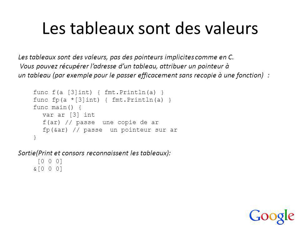 Les tableaux sont des valeurs Les tableaux sont des valeurs, pas des pointeurs implicites comme en C.