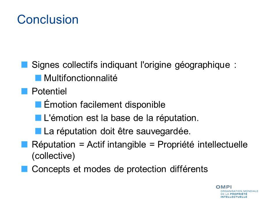 Conclusion Signes collectifs indiquant l origine géographique : Multifonctionnalité Potentiel Émotion facilement disponible L émotion est la base de la réputation.