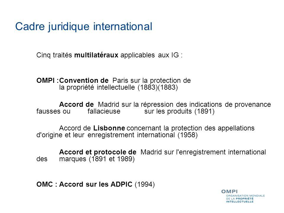 Cinq traités multilatéraux applicables aux IG : OMPI :Convention de Paris sur la protection de la propriété intellectuelle (1883)(1883) Accord de Madrid sur la répression des indications de provenance fausses ou fallacieuse sur les produits (1891) Accord de Lisbonne concernant la protection des appellations d origine et leur enregistrement international (1958) Accord et protocole de Madrid sur l enregistrement international des marques (1891 et 1989) OMC : Accord sur les ADPIC (1994) Cadre juridique international