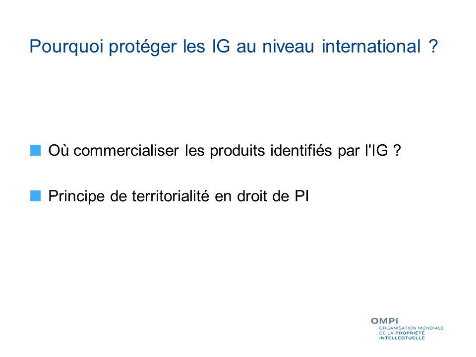 Pourquoi protéger les IG au niveau international .