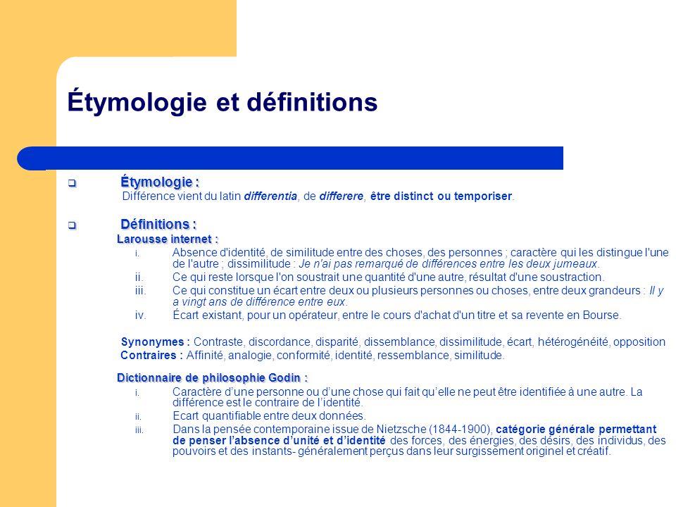 Étymologie et définitions Étymologie : Étymologie : Différence vient du latin differentia, de differere, être distinct ou temporiser. Définitions : Dé