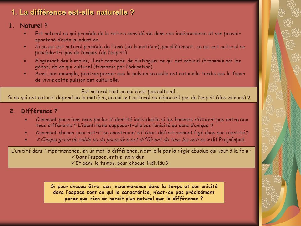 1. La différence est-elle naturelle ? 2.Différence ? Comment pourrions nous parler didentité individuelle si les hommes nétaient pas entre eux tous di