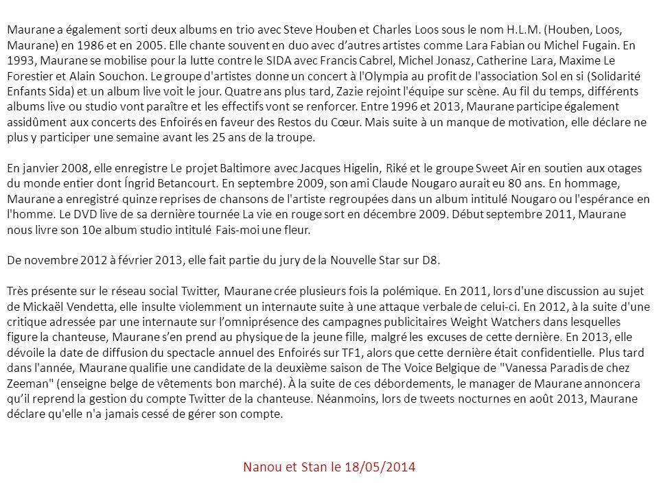 Maurane, de son vrai nom Claudine Luypaerts, est une chanteuse belge, née le 12 novembre 1960 à Ixelles, en Belgique. Elle vit depuis toujours dans la