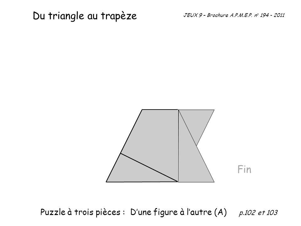 Fin Du triangle au trapèze JEUX 9 – Brochure A.P.M.E.P. n o 194 - 2011 Puzzle à trois pièces : Dune figure à lautre (A) p.102 et 103