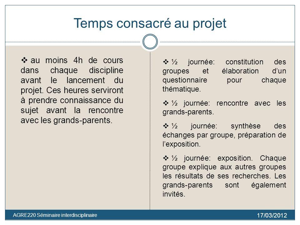 Temps consacré au projet 17/03/2012 AGRE220 Séminaire interdisciplinaire au moins 4h de cours dans chaque discipline avant le lancement du projet. Ces