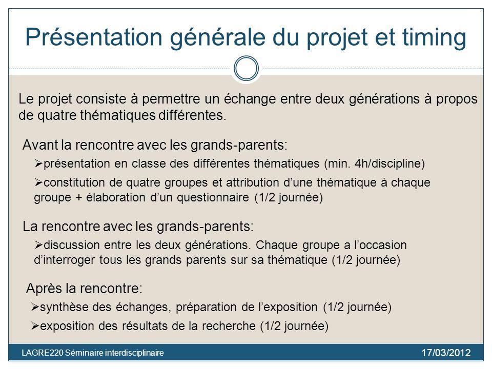 Présentation générale du projet et timing 17/03/2012 LAGRE220 Séminaire interdisciplinaire Le projet consiste à permettre un échange entre deux générations à propos de quatre thématiques différentes.