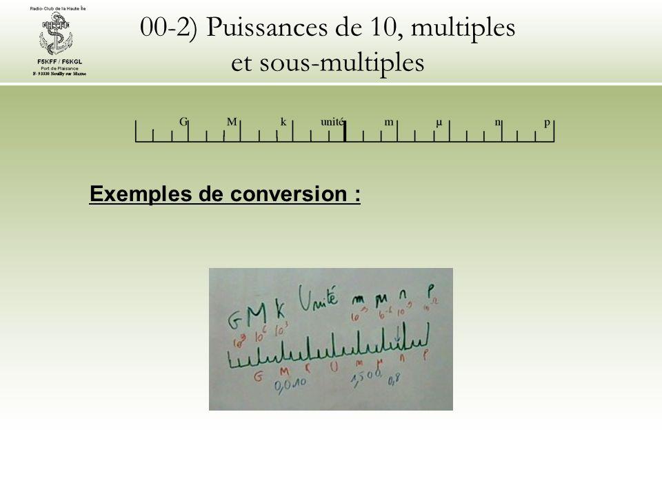 00-2) Puissances de 10, multiples et sous-multiples Exemples de conversion :